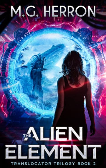Cover of The Alien Element, woman in front of sci-fi portal