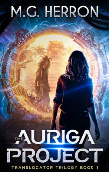 Book cover of The Auriga Project, woman in front of sci-fi portal